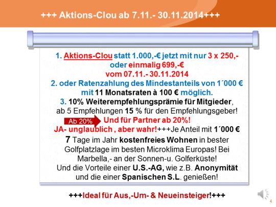 Aktions-Clou ab 7.11.- 30.11.2014