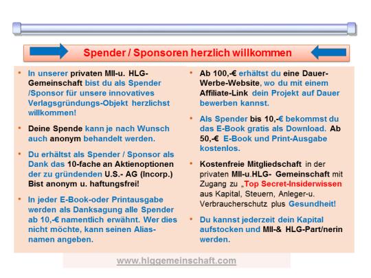 Spender-Sponsoren willkommen