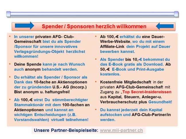 Spender / Sponsoren herzlich willkommen